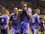 Chelsea's Frank Lampard celebrates scoring his goal during the English Premier League football match against Wolverhampton Wanderers on January 2, 2012