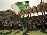 Pre-match action at Gadaffi Stadium in Lahore, Pakistan before a test between the hosts and England on November 19, 2000
