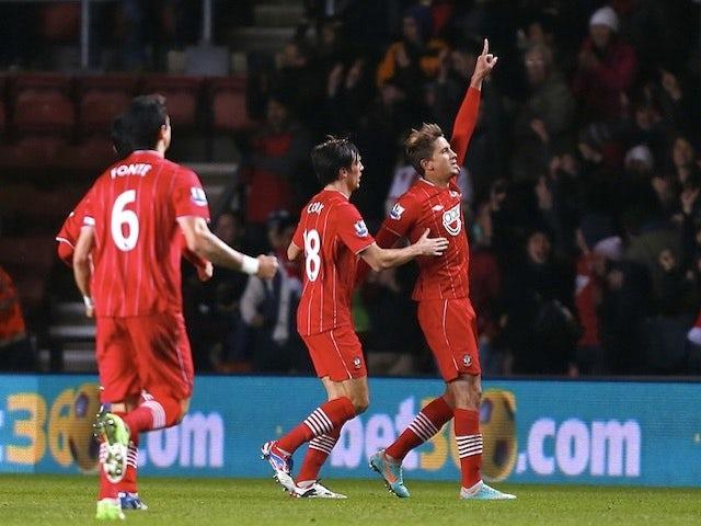 Southampton forward Gaston Ramirez celebrates his opener against Arsenal on January 1, 2013