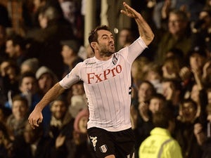 Fulham's Giorgos Karagounis celebrates his equaliser against Blackpool on January 5, 2013