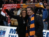 Mansfield owner John Radford and his wife and club chief executive Carolyn Radford before the FA Cup game with Liverpool on January 6, 2013