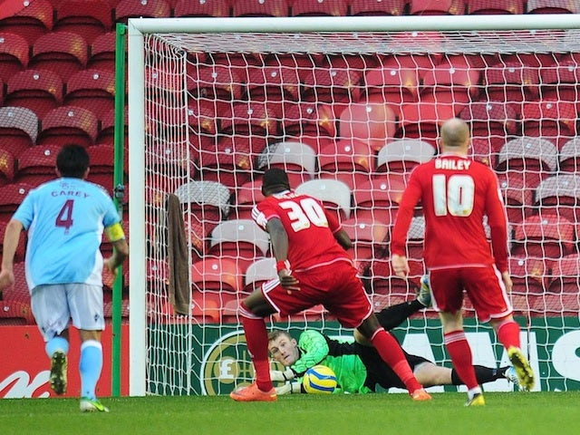 Hastings United goalie Liam O'Brien saves an Ishmael Miller penalty in the third round tie with Middlesbrough on January 5, 2013