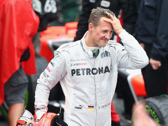 Mercedes' Michael Schumacher after finishing his final F1 race at the Brazilian Formula One Grand Prix on November 25, 2012