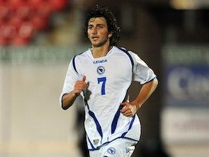 Miroslav Stevanovic of Bosnia-Herzegovina in a friendly against Wales on August 15, 2012