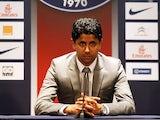 PSG owner Nasser Al-Khelaifi during a press conference in Paris on July 18, 2012