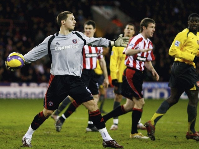 Phil Jagielka keeps goal for Sheffield United on December 30, 2006.