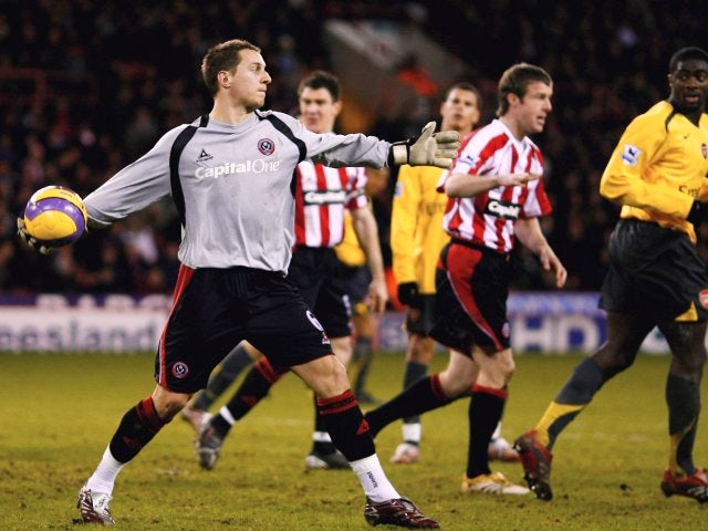 Phil Jagielka keeps goal for Sheffield United on December 30, 2006.