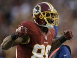 Skins receiver Pierre Garcon reacts to a play during the playoff game with Seattle on January 6, 2013