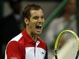 Richard Gasquet celebrates his win over Daniel Brands in the Qatar Open on January 4, 2013