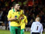 Canaries midfielder Robert Snodgrass celebrates his goal against Peterborough on January 5, 2013