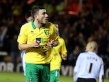 Canaries midfielder Robert Snodgrass celebrates his goal against Peterborough on January 5, 2013