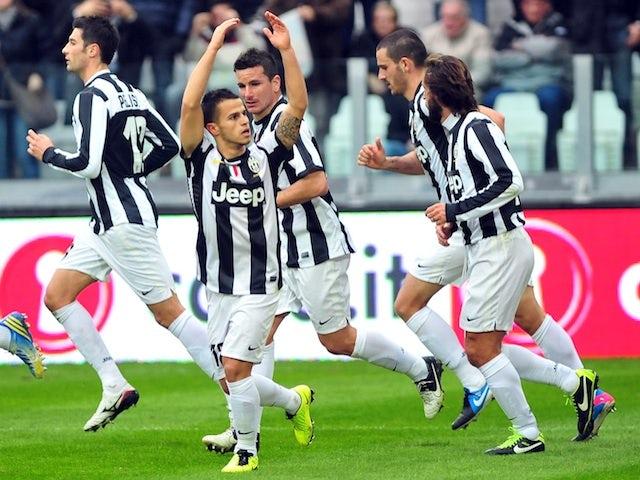 Juventus' Sebastian Giovinco celebrates with teammates following a goal against Sampdoria on January 6, 2013