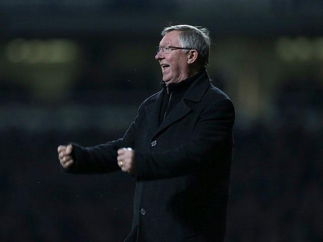 United manager Sir Alex Ferguson celebrates Van Persie's late equaliser at West Ham on January 5, 2013