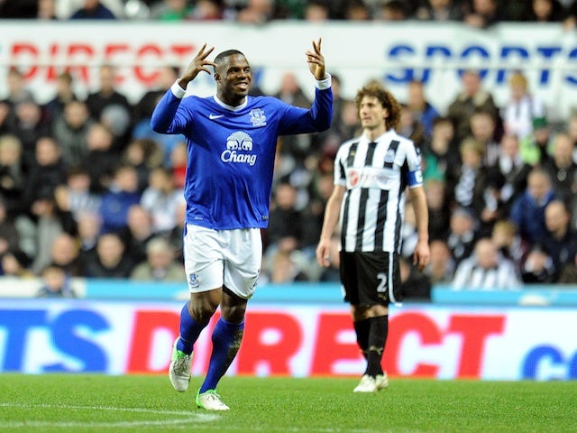 Toffees striker Victor Anichebe celebrates his goal against Newcastle on January 2, 2013