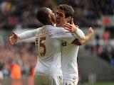 Swansea's Danny Graham congratulates Wayne Routledge on his goal against Aston Villa on January 1, 2013