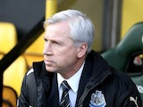 Magpies manager Alan Pardew sits in the dugout during the game with Norwich on January 12, 2013