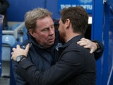 Spurs boss AVB embraces ex-Tottenham manager Harry Redknapp before the game between Spurs and QPR on January 12, 2013