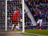 Rangers' Andrew Little slots home his team's opener against Berwick on January 12, 2013