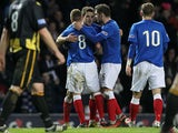 Andrew Little is congratulated by team mates after sealing his hat-trick against Berwick on January 12, 2013