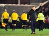 Barnsley caretaker manager David Flitcroft celebrates watching his side beat Leeds United on 12 January, 2013