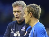 David Moyes and skipper Phil Neville before Everton's game with Leyton Orient on August 29, 2012