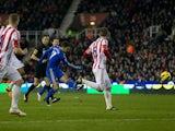 Eden Hazard scores his team's fourth goal against Stoke on January 12, 2013
