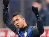 Inter's Fredy Guarin celebrates scoring the his team's second against Pescara on January 12, 2013
