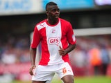 Crawley Town's Hope Akpan in action against Portsmouth on September 9, 2012