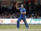 England's James Tredwell celebrates a wicket in the one-day clash with South Africa on September 2, 2012