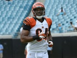 Cincinnati Bengals tight end Jermaine Gresham warms up on 30 September, 2012