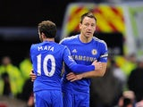 John Terry returns to action as a substitute for Juan Mata against Stoke on January 12, 2013