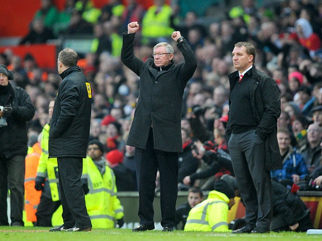 Manchester United manager Sir Alex Ferguson celebrates his sides victory over Liverpool on January 13, 2013