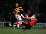 Bradford City's Nahki Wells opens the scoring against Aston Villa on January 8, 2013