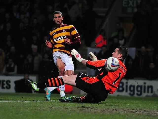 Bradford City's Nahki Wells opens the scoring against Aston Villa on January 8, 2013