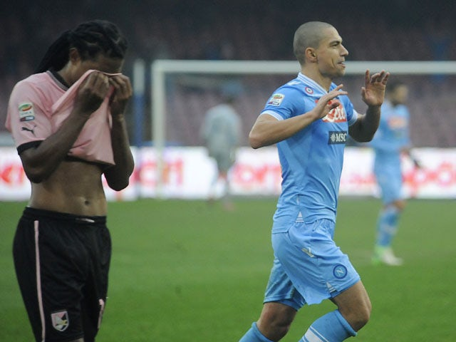 Gokhan Inler celebrates scoring for Napoli against Palermo in their Serie A clash on January 13, 2013