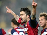 Bologna's Panagiotis Kone celebrates after scoring the opener against Chievo Verona on January 12, 2013