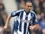 West Brom's Peter Odemwingie in action on November 24, 2012