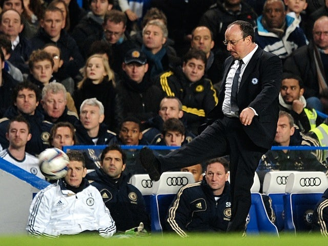 Chelsea manager Rafa Benitez kicks the ball away against Swansea on January 9, 2013