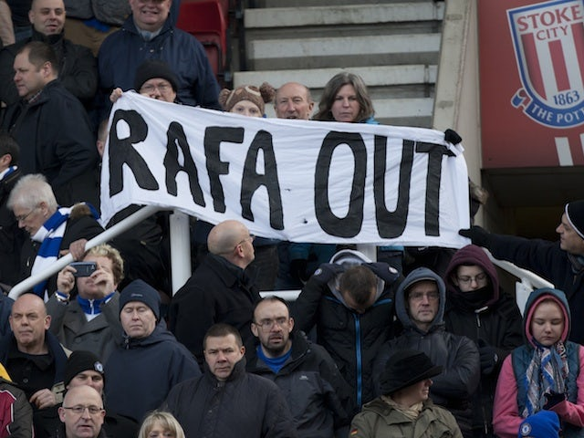 Chelsea fans fail to let it drop despite the team's 4-0 win away at Stoke on January 12, 2013