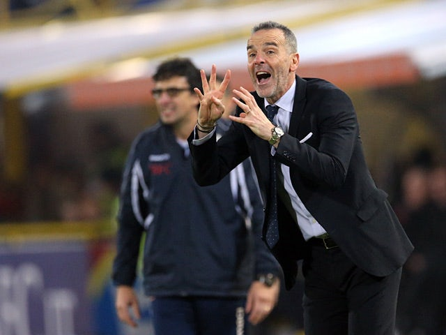 Bologna coach Stefano Pioli instructs his team during the match against Chievo Verona on January 12, 2013