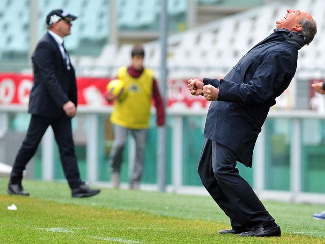 Torino coach Giampiero Ventura celebrates during his sides win against Siena in Serie A on January 13, 2013