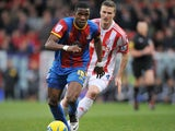 Crystal Palace player Wilfried Zaha dribbles the ball during his sides Championship match on 5 January, 2013