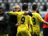 Reading boss Brian McDermott congratulates two goal striker Adam Le Fondre after the win over Newcastle on January 19, 2013