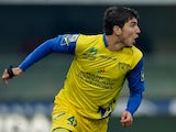 Chievo's Alberto Paloschi celebrates scoring the equaliser against Parma on January 20, 2013