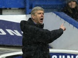Arsenal boss Arsene Wenger on the touchline at Stamford Bridge on January 20, 2013