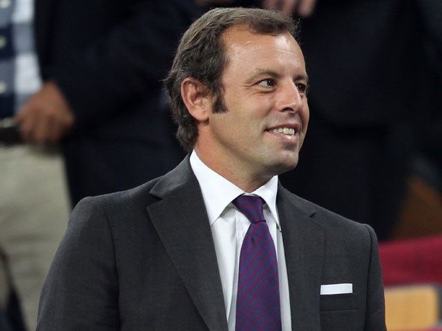 Barcelona president Sandro Rosell in the stands during his sides match with Viktoria Plzen on 19 October, 2011