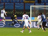 Bologna Manolo Gabbiadini scores for his side in their match with Inter Milan on January 15, 2013