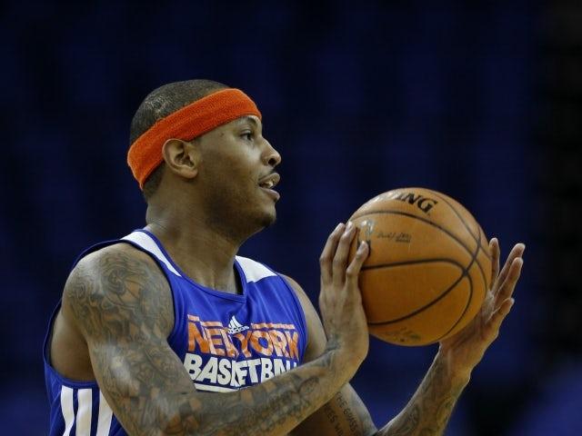 New York Knicks forward Carmelo Anthony trains at the O2 on January 16, 2013
