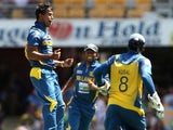 Sri Lanka's Nuwan Kulasekara after taking a wicket in his sides match with Australia on January 18, 2013