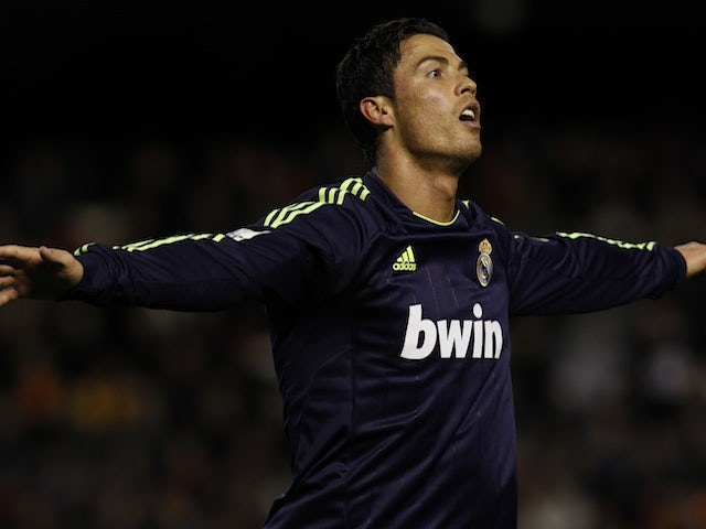 Real Madrid star Cristiano Ronaldo celebrates a goal against Valencia on January 20, 2013